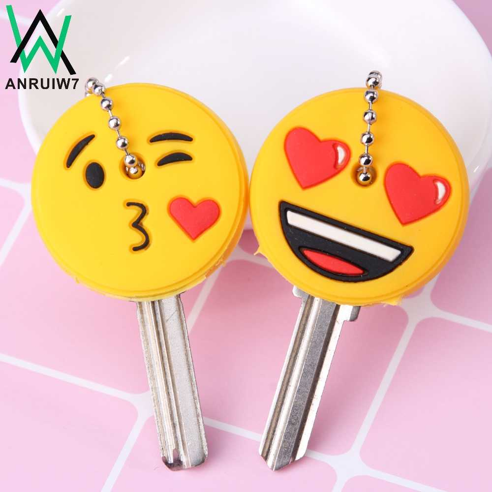 Cute Cartoon Emoticons Smile Key Cover Cap Silicone Amusing Head Yellow Face Stool Keychain Women Porte Clef