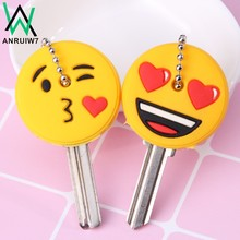 Cute Cartoon Emoticons Smile Key Cover Cap Silicone Amusing Head Yellow Face Stool Keychain Women Porte Clef(China)