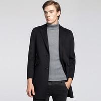 Для мужчин кашемировое шерстяное пальто куртка 2018 мужской большие размеры шерстяное пальто тонкий длинный участок чистый цвет шерстяная к