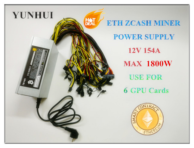 ETH ZCASH MINE Power Supply (NEW) MAX Output 1800W 12V 154A For R9 380 RX 470 <font><b>RX480</b></font> 6 GPU CARDS image