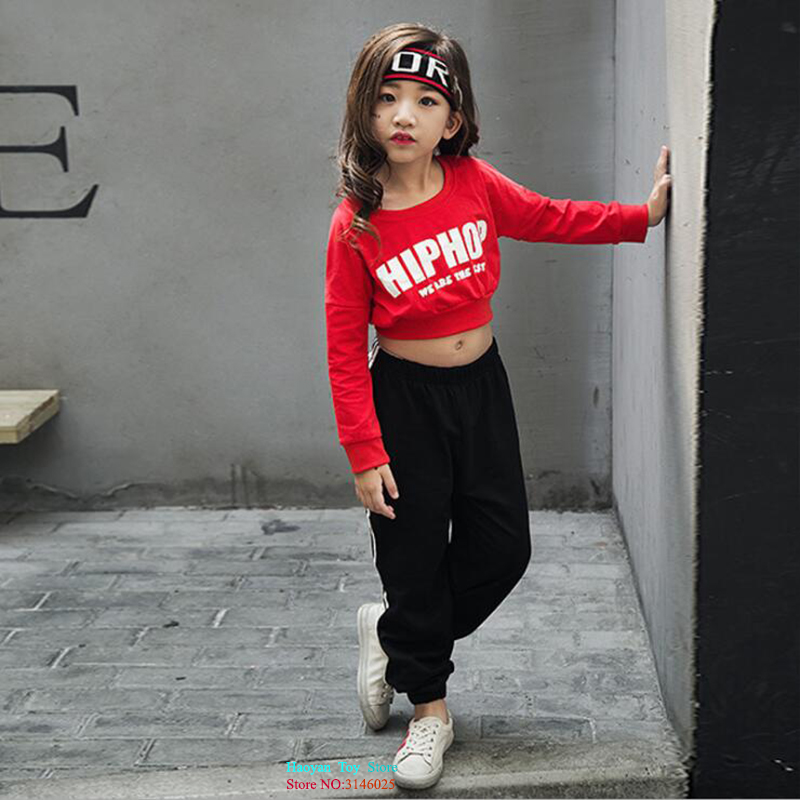 3 Years Girls Hip Hop Clothing For Dance Summer Kids Long Sleeve Crop Top And Pants 2 Pieces Outfits Teenager Clothes For Girls trumpet sleeve knot hem crop top
