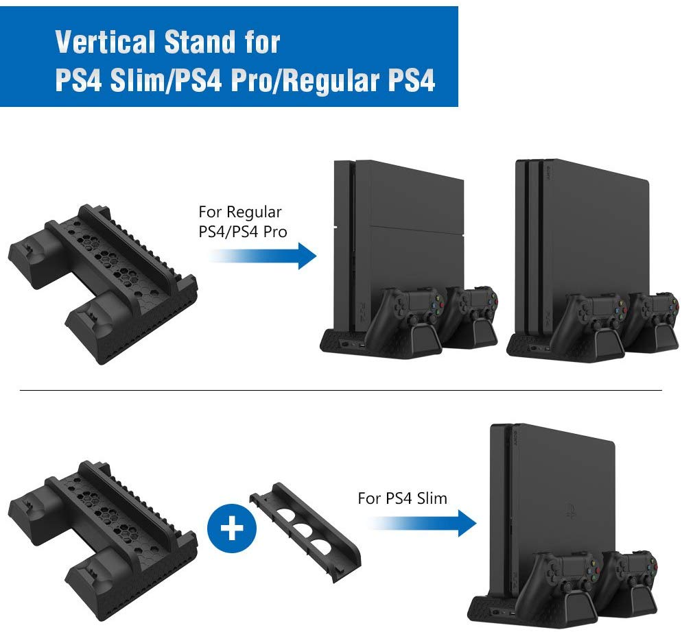 Купить с кэшбэком PS4/PS4 Slim/PS4 Pro Vertical Console Cooling Pad Fan Controller Charger Game Disk Storage Stand Tower Base For Playstation 4