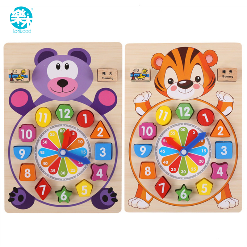 Baby toys wooden block clock building blocks  education montessori table game kids toy for children teaching gifts настенная плитка venis newport old beige 33 3x100