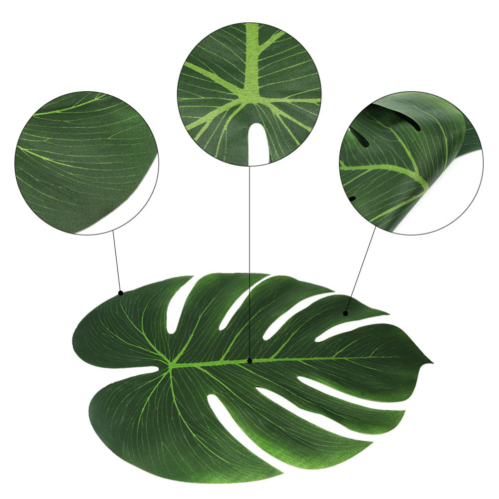 12pcs 35x29cm artificial tropical palm leaves for hawaii for Artificial leaves for decoration