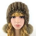 2016 Gorros de Inverno Mink Chapéu De Pele para As Mulheres Bonito Novidade Sólida pele Venda Quente Tamanho Livre Moda Casual bola da pele das Mulheres De Pele chapéu