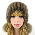 2016 Winter Beanies Fur Hat for Women Cute Novelty Solid Mink Fur Hot Sale Free Size Casual Fashion fur ball Women's Fur Hat