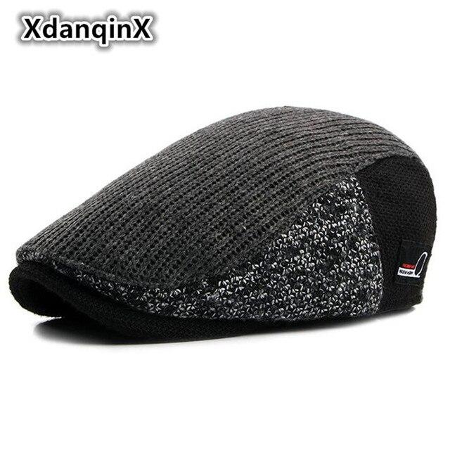 89732b27f01 Adult Men s Winter Hat Warm Fashion Retro Berets Thicker Male Bone Snapback  Duck Tongue Cap Brand