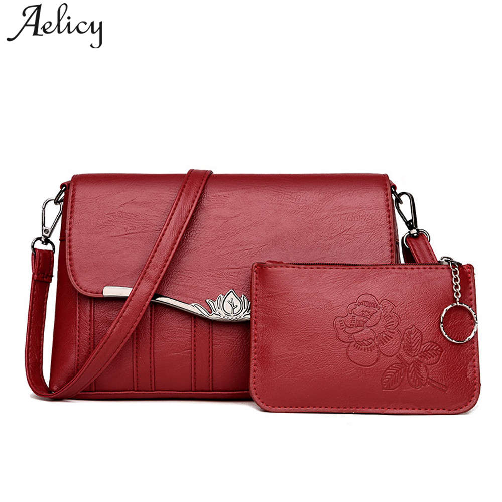 Aelicy luxury New 2pcs Composite Bag Women Solid Leather Shoulder Bags Women's Casual Totes Bag Designer Female Bucket Handbags