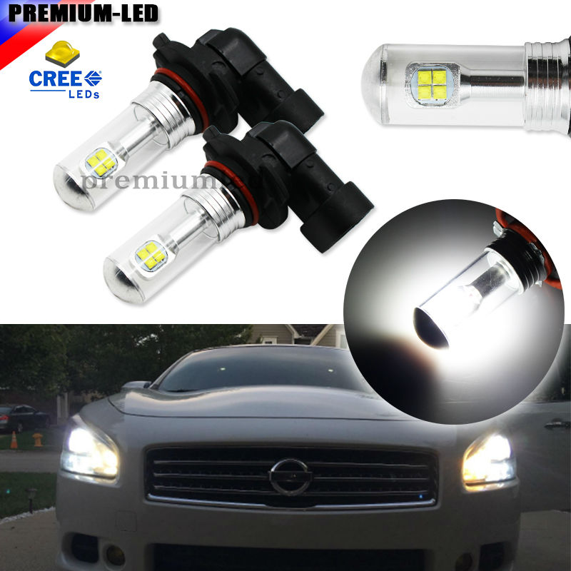 2pcs High Power 6000K Xenon White 8-SMD CRE'E 9005 HB3 9145 H10  LED Bulbs For Fog Lamps or Driving Light Replacement Upgrade 2pcs high power super bright 6000k xenon white cree xb d h8 h11 led replacement bulbs for fog light driving lamps