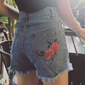 Vintage ripped fringe blue embroidered denim shorts women casual pocket jeans shorts high waist summer girl hot shorts MZ1464