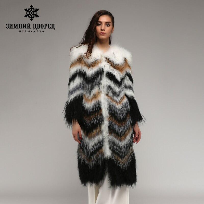Palais d'hiver 2017 manteau de renard de Style classique. Manteau de renard de fourrure tricoté en cuir véritable, manteau de renard d'hiver de fourrure mince de mode femmes