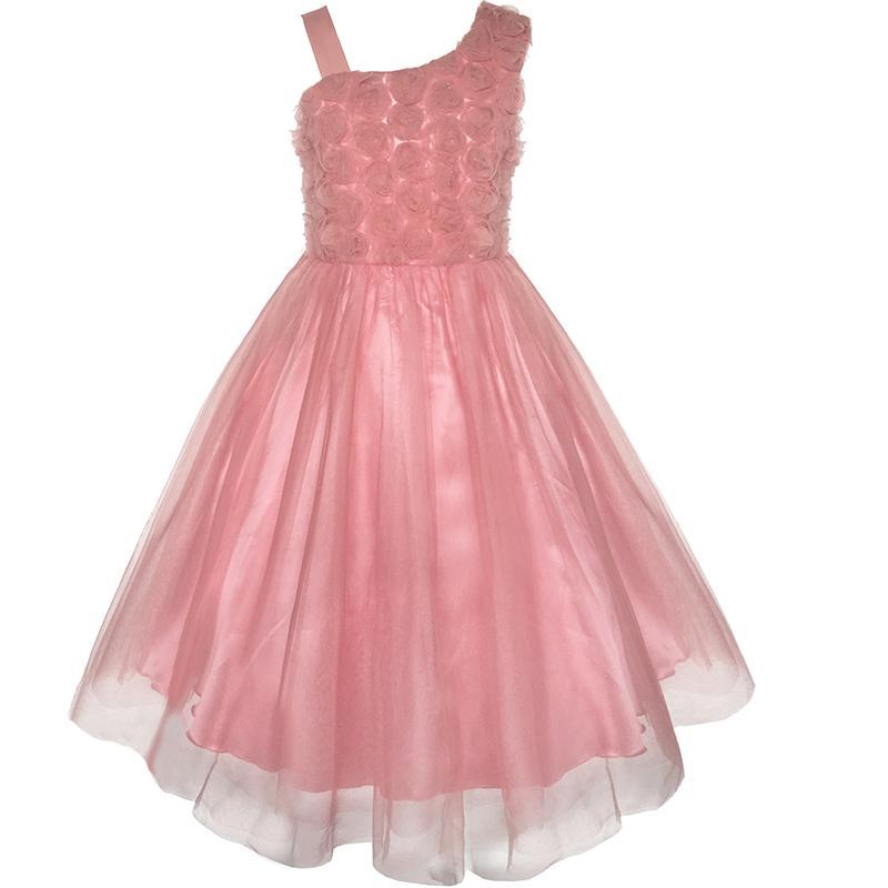 Girls Dress One Shoulder Rose Flower Dancing 2017 Summer Princess Wedding Party Dresses Girl Clothes Size 6-14 Pageant