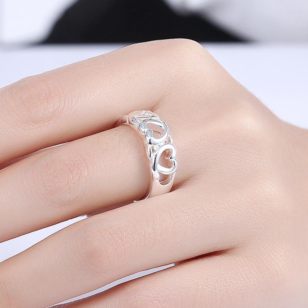 Fashion Love Heart Woman\'s Ring Silver Plated Wedding Engagement ...