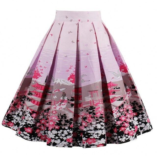 Alta cintura plisado elegante falda azul blanco rodilla-longitud Flared  Faldas Moda Mujer Faldas Saia 961cb23258ec