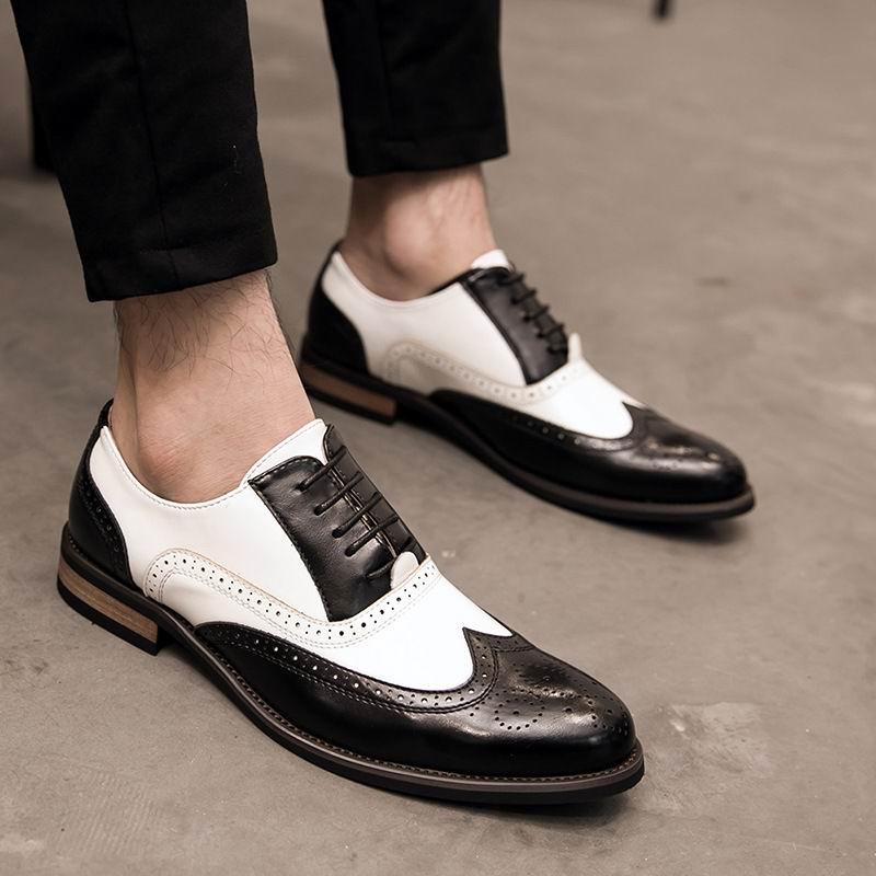 Tendência Marrom Branco Redondo Rendas Casamento De Homem Pé Até Misturadas Sapatos Dedo Do Para Clássico Couro Preto Mens marrom Brogue Cores Escritório Moda zZnvSA