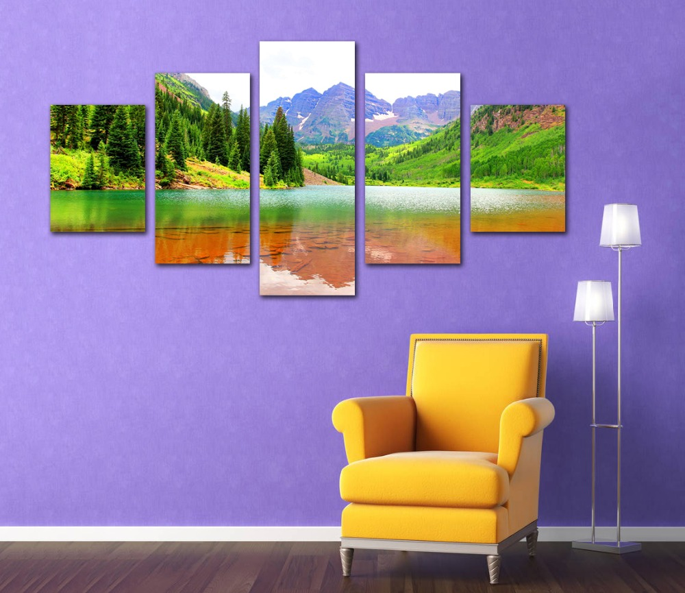 5 Pieces Canvas Paintiong Print Mountains Lake Fir Maroon Bells Landscape Picture for Home Lioving Room Backdrop Decoration Art