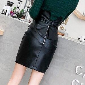 Image 4 - Ih Mulheres Lápis de Cintura Alta Saia De Couro PU 2019 Primavera de Moda de Nova Patchwork Moda Feminina Pacote Hip Fenda Mini Preto saia