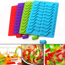 20 53 Cavity Silicone Gummy Snake Worms Bear Chocolate Mold Sugar Candy Jelly Molds Ice Tube Tray Mold Baking Cake Tools cheap wu fang Moulds Eco-Friendly 100007013 100007013 100007013 100007013