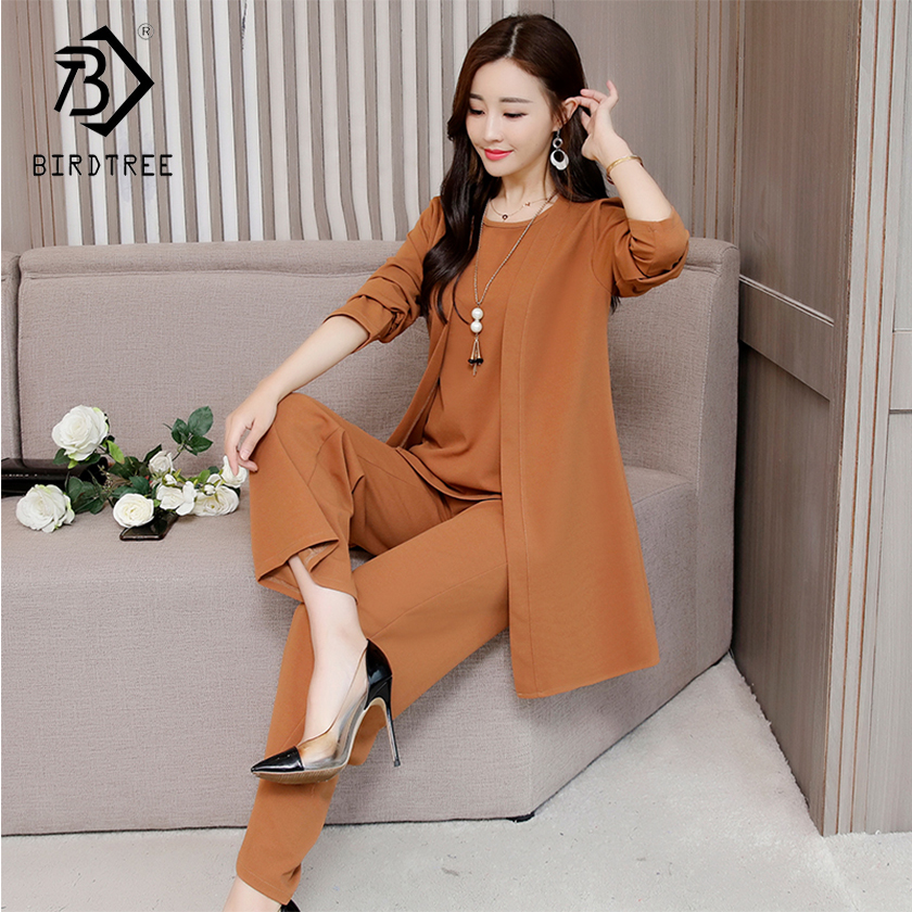 Plus Size 5XL New Autumn Woman's Tops And Pants Three Pieces Sets O-Neck Full Sleeve Loose Fashion Pullovers Hot Sale S88629LD
