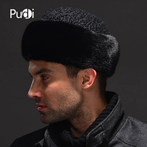 HM037  Real Genuine Mink  With Wool Hat  Winter Russian Men's Warm Caps Whole Piece Mink  Sheep  Fur Hats