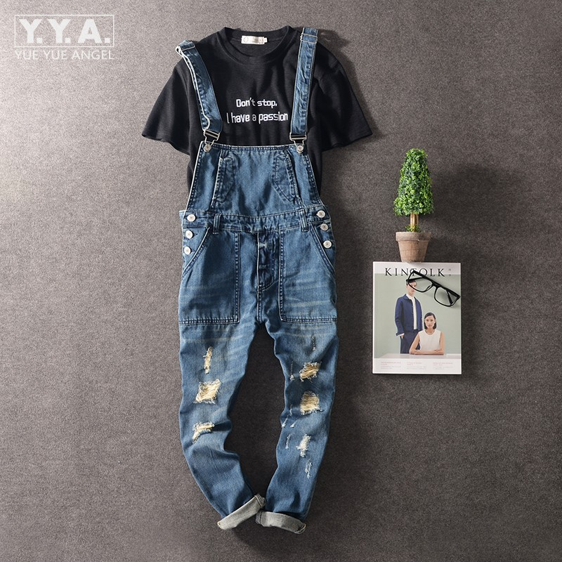 Retro Mens Denim Overalls Suspender Bib Trousers Pencil Pants Jeans Jumpsuit Slim Straight Distressed Ripped Hole Jumpsuit Solid new fashion suspender jeans overalls trousers denim female straight dark blue washed women pants jumpersuit rompers