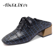 AIKELINYU 2019 Womens Basic Pumps Med Square Heel Sheepskin Head Lace-ups Casual Shoes Leisure Comfortable Ladies