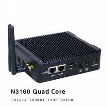 Лучшие продажи Мини-ПК HTPC Celeron N3160 Quad Core INTL HD Графика Micro Безвентиляторный Компьютер Windows7, 8, linux, металлический корпус неттоп