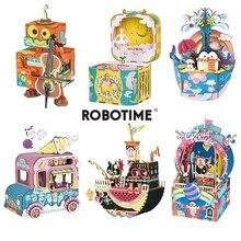 مجموعة ألعاب ألغاز باليه خشبية ثلاثية الأبعاد ذاتية الصنع من Robotime صندوق موسيقي متحرك هدية للأطفال والكبار