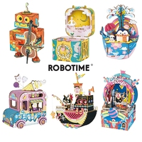 Robotime New Arrival DIY 3D Kitty Ballet Wooden Puzzle Game Assembly Moveable Music Box Toy Gift for Children Kids Adult AMD