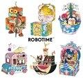 Robotime nueva llegada DIY 3D Kitty Ballet juego de rompecabezas de madera ensamblaje caja de música móvil juguete regalo para niños adultos AMD