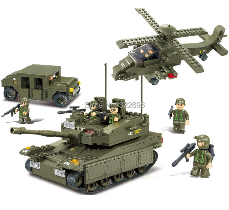 Sluban Army Troops Educational Toys Tank+Hummer+Helicopter+6 Soldiers Bricks Building Block Toy Compatible Lego Blocks - TOYTime Co., Ltd. store