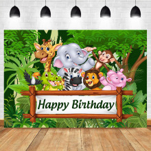 Jungle Theme Backdrop Animal Birthday Party Photo Cute Elephant Zebra Backgroud Cartoon Wild Photography