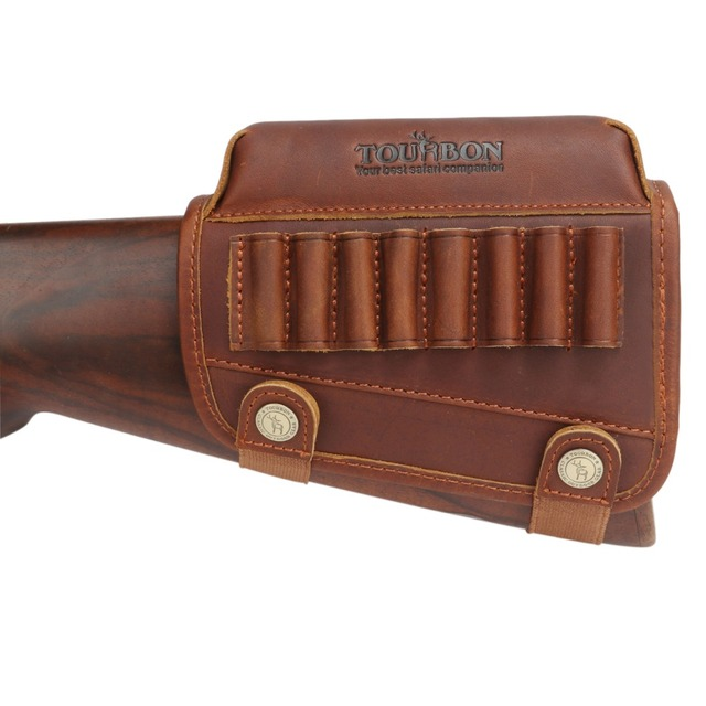 Tourbon Hunting Rifle Gun Cheek Rest Riser Pad Buttstock Left Hand Genuine Leather W/Ammo Cartridges Holder Shooting Accessories 1