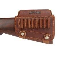 Tourbon Hunting Rifle Gun Cheek Rest Riser Pad Buttstock Left Hand Genuine Leather W/Ammo Cartridges Holder Shooting Accessories