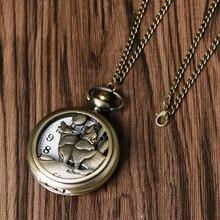 Cool Howling Wolf Hound Dog Bronze Copper Retro Women Men Quartz Pocket Watch Pendant Necklace Chain Gift Relogio De Bolso