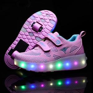 Image 5 - Yeni pembe mavi kırmızı USB şarj moda kız erkek LED ışık paten ayakkabı çocuklar Sneakers tekerlekler İki tekerlekler