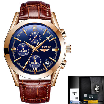 LIGE New Fashion Mens Watches Top Brand Luxury Military Quartz Watch Premium Leather Waterproof Sport Chronograph Watch Men 7