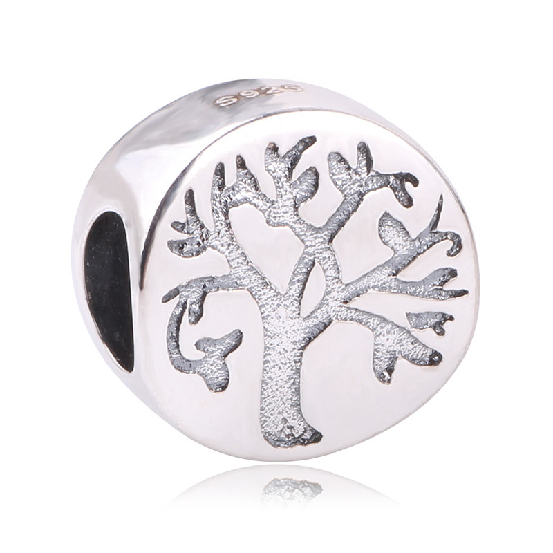Couqcy New Arrival Original 925 Sterling Silver Bead Letter Tree Charm Beads Fits Pandora Charms Bracelet DIY Jewelry Making