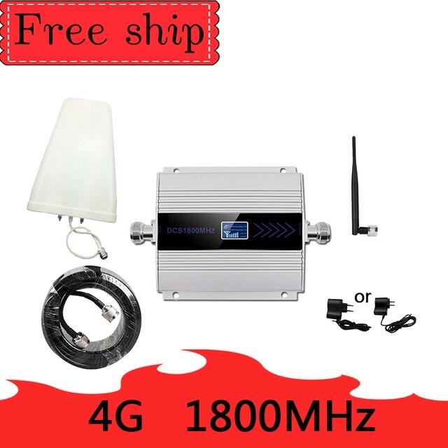 4G LTE DCS 1800mhz repetidor de celular GSM 1800 60dB ganar teléfono móvil de GSM 2G 4G amplificador Antena de látigo