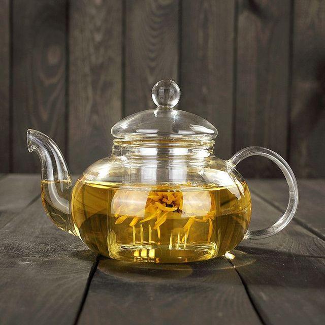 Heat Resistant Glass Flower Tea Pot