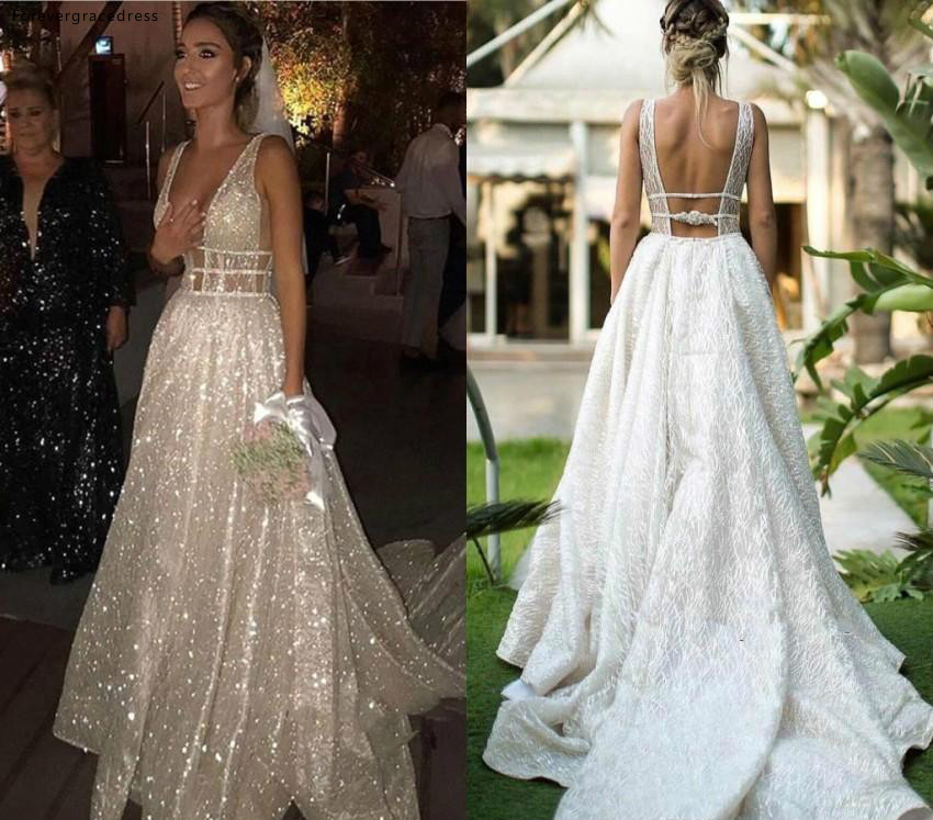 Silver Sequins Wedding Dresses Sexy A Line Deep V Neck Country Garden Formal Bride Bridal Gowns Plus Size Custom Made