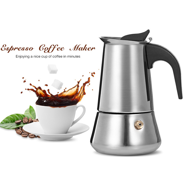 Stainless Steel Moka Coffee Pot Stovetop Espresso Maker Latte Percolator Stove Household
