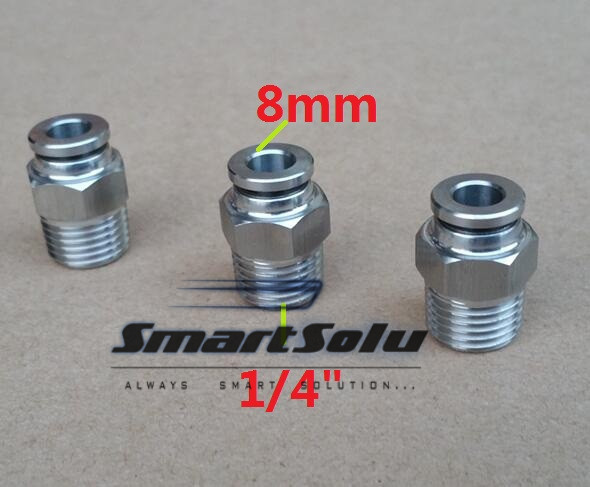 Free shipping 10pcs/lot 8MM Tube Size 1/4 Thread stainless steel push-in fitting Threaded pipe fittings pneumatic fittings 8mm tube to 8mm tube plastic pipe coupler straight push in connector fittings quick fitting page 3