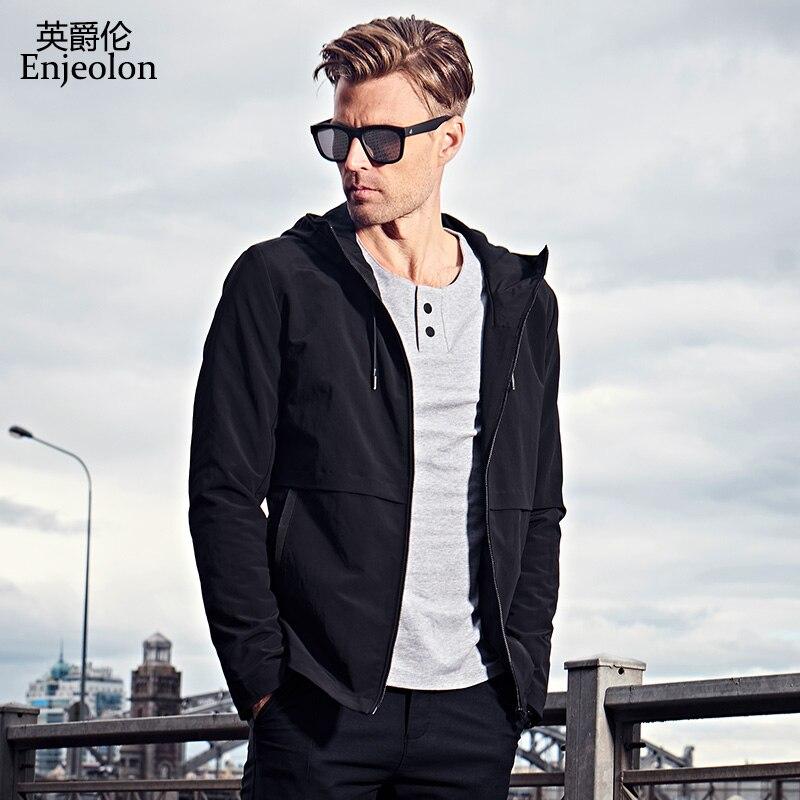 Erkek Kıyafeti'ten Ceketler'de Enjeolon marka sonbahar hoodies Bombacı ceketler ceket erkekler moda siyah katı Erkek mont giyim, kapşonlu Ceket Erkek giysileri JK0422'da  Grup 3