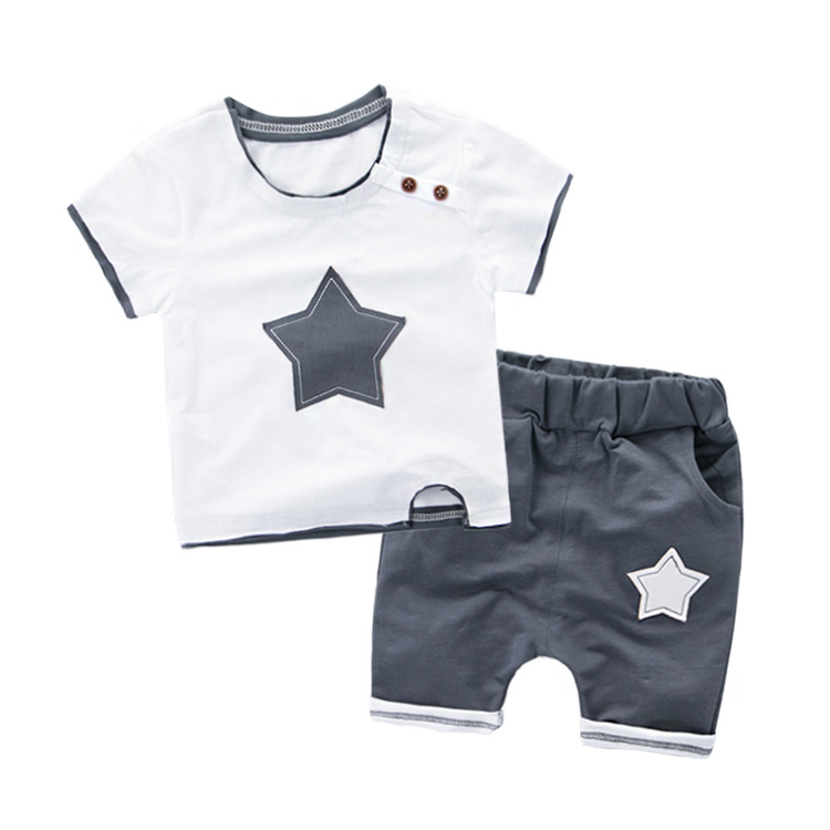Baby Summer Short Sleeve Set Boy & Girl Clothes Cotton Star Shorts + Star T-shirt Two-piece Suit 18M-6 Years Little Kids Sets baby girl clothes set fashion blue jean shirt cotton white lace shorts 2pcs girls clothes kid summer suit set