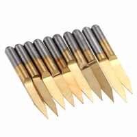 10pcs 0.2mm 30 Degree Titanium Coated Carbide PCB Engraving CNC Bits For Router Tool