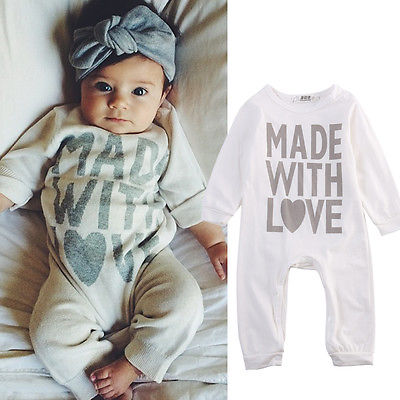 Cotton Newborn Kids Baby Girls Boy Clothes Long Sleeve Romper Playsuit Clothes Outfits 0-24M