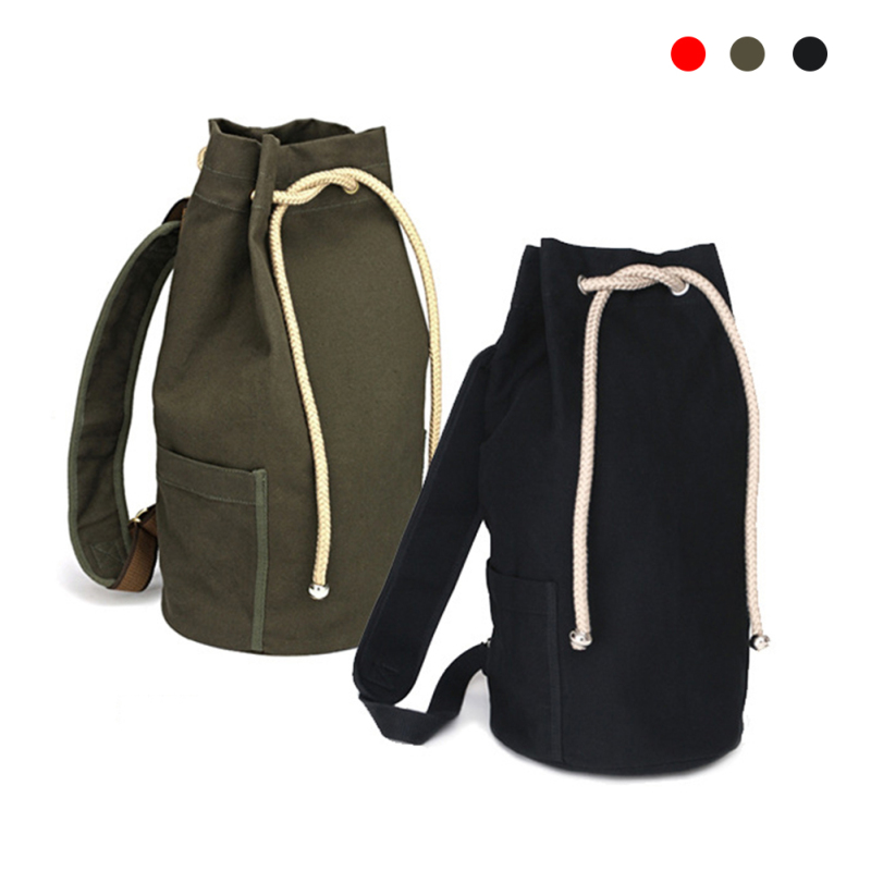 New Large Capacity Men Drawstring Backpack Canvas Bucket Bag  Unisex Fashionable Concise School Bag Male Schoolbag