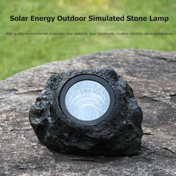 4LED Solar Simulation Stone Lamp Outdoor Waterproof Garden Landscape Light Outdoor Path Way Garden Decking Dropshipping