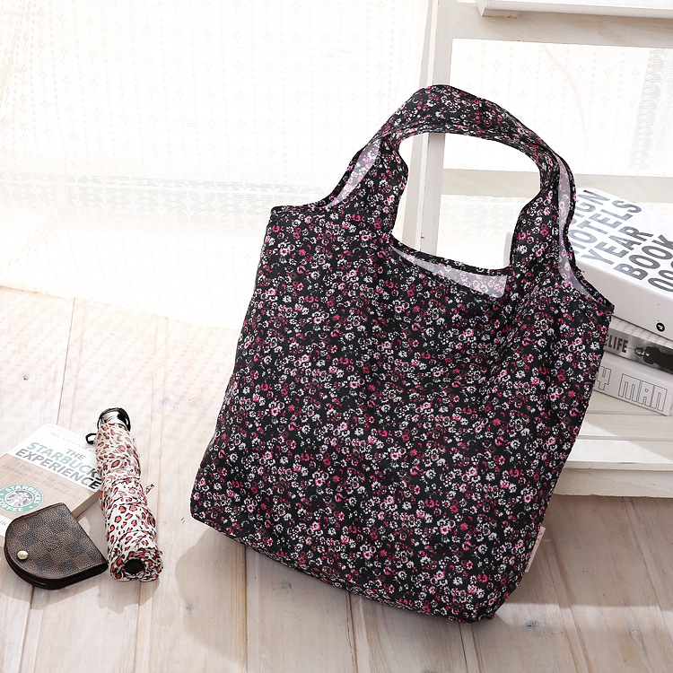 Small Floral Reusable Folding Shopping Bags Portable Large Nylon bags Thick bag Foldable Waterproof ripstop Shoulder Bag Handbag